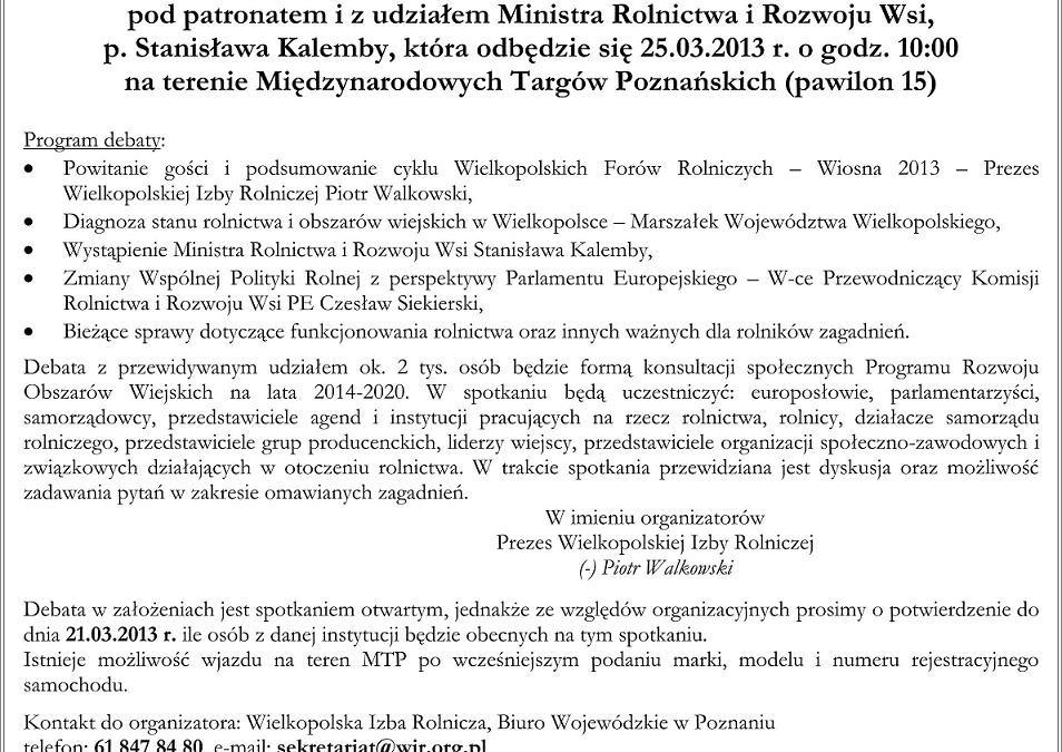 """Zaproszenie na debatę pt. """"Wielkopolskie rolnictwo dziś i w perspektywie zmian WPR po 2013 r."""""""