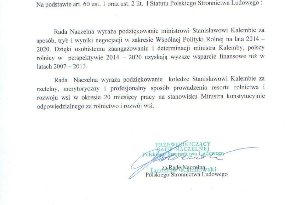 Stanowisko RN w sprawie negocjacji w zakresie WPR na lata 2014-2020 oraz uchwała ZW PSL /13.06.2014 r./
