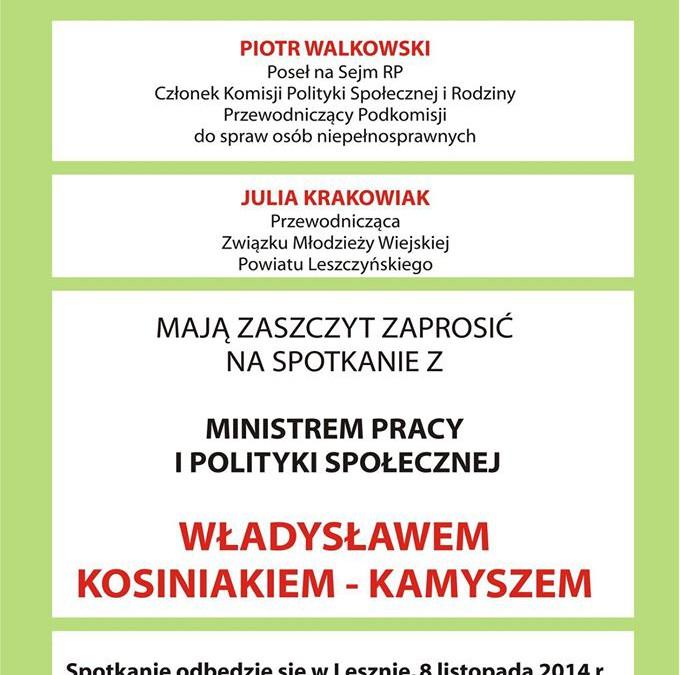 Zaproszenie do Leszna na spotkanie z Ministrem Pracy i Polityki Społecznej