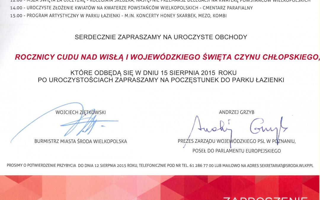 Zaproszenie na Wojewódzkie Święto Czynu Chłopskiego