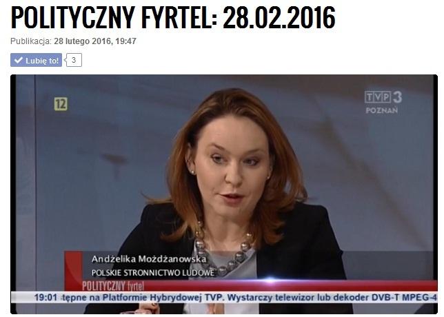"""""""POLITYCZNY FYRTEL"""" Z UDZIAŁEM ANDŻELIKI MOŻDŻANOWSKIEJ"""