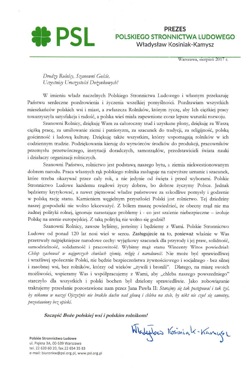 list na dożynki _ Kosiniak