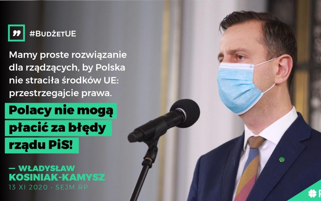 Budżet UE. Za błędy rządu PiS nie mogą płacić Polacy
