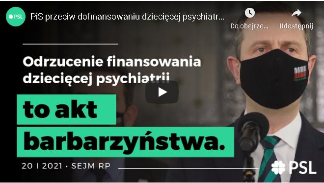 Kosiniak-Kamysz: Niepoparcie poprawki 80 mln na psychiatrię dziecięcą to akt barbarzyństwa