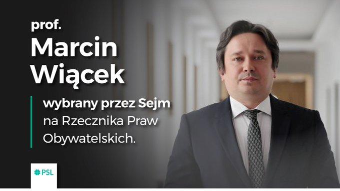 Kandydat ludowców, prof. Marcin Wiącek wybrany przez Sejm na RPO